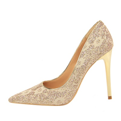 Fashion Pionted Toe High Heel Lace Wedding Shoes_5