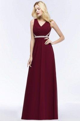 A-line  V-neck Long-Sleeveless Ruffled Floor-Length Bridesmaid Dresses with Beading Sash_3