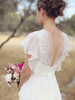 Charming Ruched Floor-Length V-neck Short Sleeves Chiffon Wedding Dresses_3