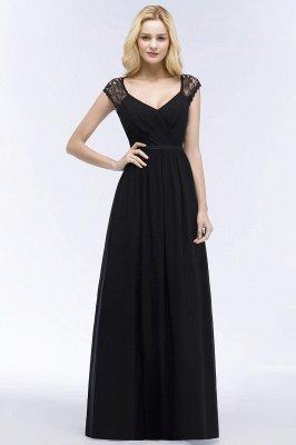 Elegant Mermaid Lace V-Neck Sleeveless Floor-Length Bridesmaid Dresses with Sash_1