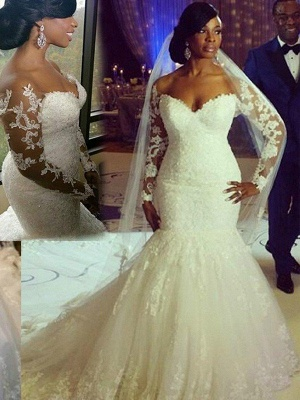 Sweep Train Long Sleeves Tulle Sweetheart  Sexy Mermaid Applique Wedding Dresses_3