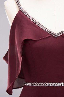 elegant A-line  V-Neck Spaghetti Straps Sleeveless Floor-Length Bridesmaid Dresses with Beading Sash_12