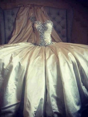 Romantic Taffeta Sleeveless Cathedral Train Ruffles Puffy Sweetheart Wedding Dresses_7