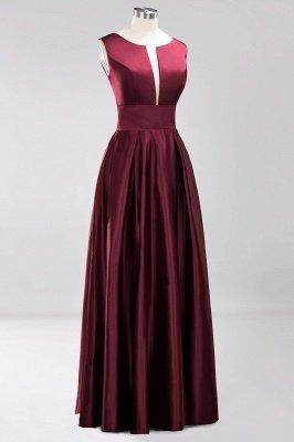 A-line Satin Deep-V-Neck Sleeveless Ruffles Floor-length Bridesmaid Dress_3