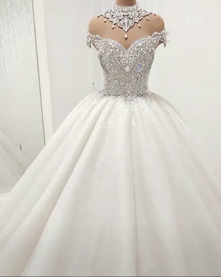 Glamorous High Neck Crystal Beaded Puffy Wedding Dresses_1
