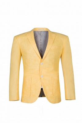 Peak Lapel Two Button Daffodil High Quality Wedding Suit Casual Suit_2