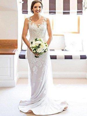 Court Train Applique Sleeveless Column Scoop Lace Wedding Dresses_1