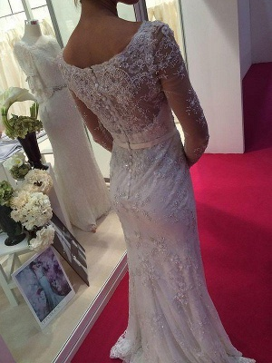 Chiffon Column Lace Sweep Train Scoop Long Sleeves Wedding Dresses_3