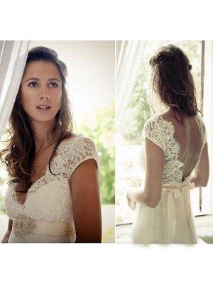 Affordable V-neck Sweep Train Sleeveless Tulle Beaded Wedding Dresses_4