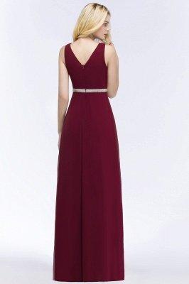 A-line  V-neck Long-Sleeveless Ruffled Floor-Length Bridesmaid Dresses with Beading Sash_2