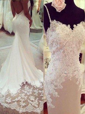 Shabby Chic Sexy Mermaid Spaghetti Straps Applique Satin Wedding Dresses_1