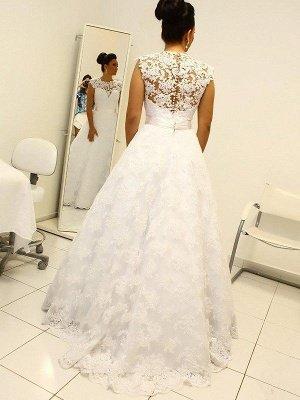Shabby Chic Floor-Length Scoop Sleeveless Lace Puffy Wedding Dresses_4