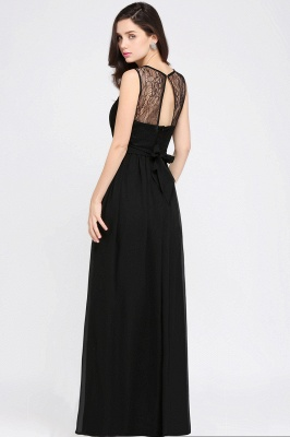 A-Line  Lace Jewel Sleeveless Keyhole Floor-Length Bridesmaid Dresses_5