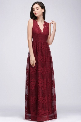 A-Line Lace Deep-V-Neck Sleeveless Floor-Length Bridesmaid Dresses_1