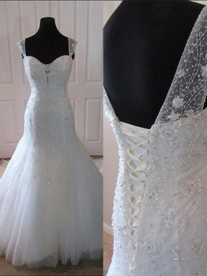 Straps Court Train Sleeveless Tulle Sexy Mermaid Wedding Dresses_1