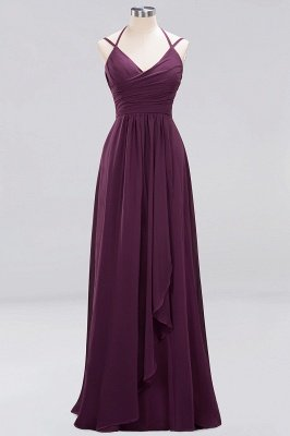 A-line  Spaghetti Straps Sleeveless Ruffles Floor-Length Bridesmaid Dresses_12