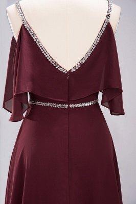 elegant A-line  V-Neck Spaghetti Straps Sleeveless Floor-Length Bridesmaid Dresses with Beading Sash_9