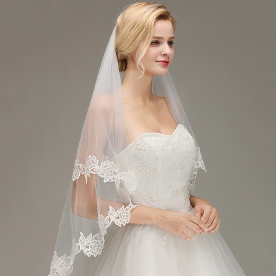 Lace Applique Two Layers Wedding Veils With Comb_6