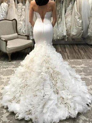 Sleeveless Court Train Sweetheart Organza Sexy Mermaid Wedding Dresses_3