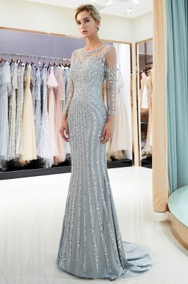 Mermaid Sequined Pattern Long Sleeves Prom Dress | Evening Dresses 2019_2