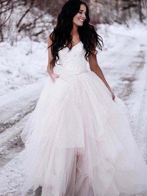 Glamorous Ruched Floor-Length Tulle Sleeveless V-neck Wedding Dresses_1