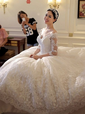 Tulle Cathedral Train Off-the-Shoulder Puffy 3/4 Sleeves Beads Applique Wedding Dresses_3