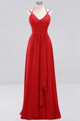 A-line  Spaghetti Straps Sleeveless Ruffles Floor-Length Bridesmaid Dresses_5