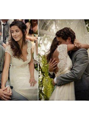 Affordable V-neck Sweep Train Sleeveless Tulle Beaded Wedding Dresses_3