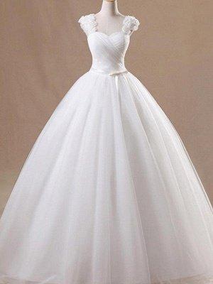 Dazzling Ruffles Tulle Square Floor-Length Sleeveless Puffy Wedding Dresses_1