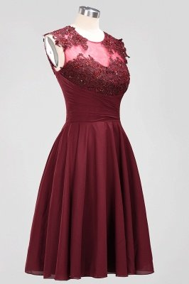 A-line  Appliques Jewel Sleeveless Knee-Length Bridesmaid Dresses with Ruffles_3