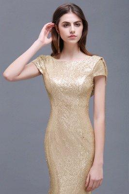 Mermaid Sparkly Sequins Scoop Short-Sleeves Floor-Length Bridesmaid Dresses_5