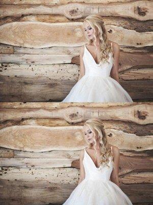 Spaghetti Straps Lace Organza Wedding Dresses | V-neck Sleeveless Court Train Bridal Gowns_3