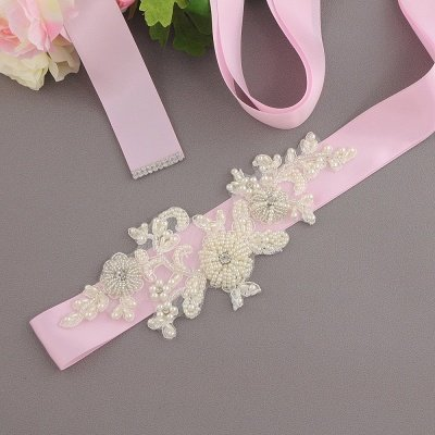 Beautiful Satin Flower Wedding Sash with Pearls_5