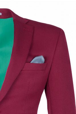 Burgundy Stylish Design Peak Lapel Single Breasted Wedding Suit High Quality_4