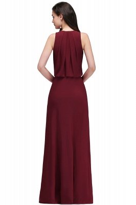 A-line  V-Neck Sleeveless Front-Split Floor-length Bridesmaid Dress with Crystal_2