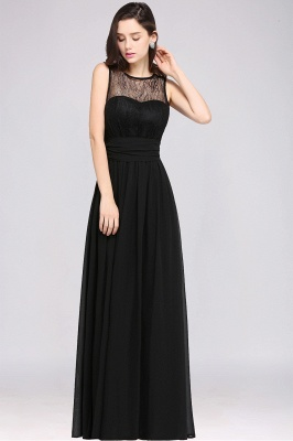 A-Line  Lace Jewel Sleeveless Keyhole Floor-Length Bridesmaid Dresses_3