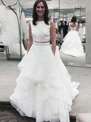 Stunning Sleeveless Court Train Chiffon Bateau Wedding Dresses_1