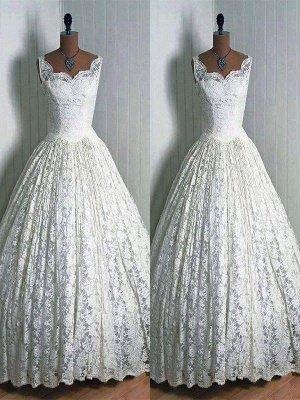 Stunning Sleeveless Floor-Length Sweetheart Lace Puffy Wedding Dresses_1