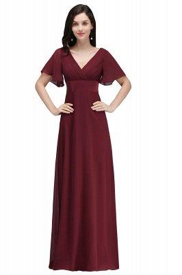 Simple A-Line  V-Neck Short-Sleeves Ruffles Floor-Length Bridesmaid Dresses_1