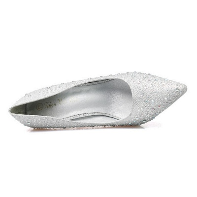 Fashion Pionted Toe High Heel Wedding Shoes with Beadings_4
