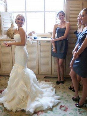 Court Train Sexy Mermaid Satin Wedding Dresses   Sleeveless Sweetheart Ruffles Bridal Gowns_1