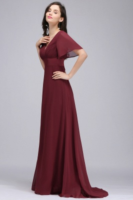 Simple A-Line  V-Neck Short-Sleeves Ruffles Floor-Length Bridesmaid Dresses_4