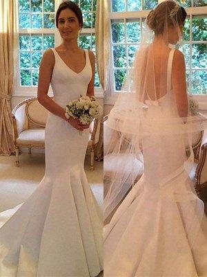 Sleeveless V-neck Satin Sweep Train Sexy Mermaid Wedding Dresses_1