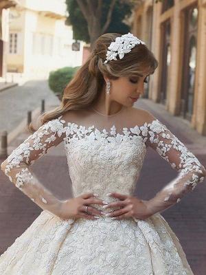 Elegant Long Sleeves Satin Scoop Chapel Train Applique Puffy Wedding Dresses_2