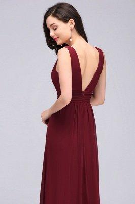 Elegant A-Line  V-Neck Sleeveless Ruffles Floor-Length Bridesmaid Dresses_5