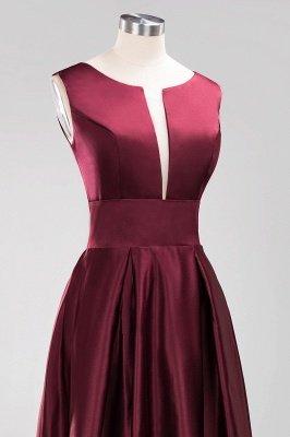 A-line Satin Deep-V-Neck Sleeveless Ruffles Floor-length Bridesmaid Dress_5