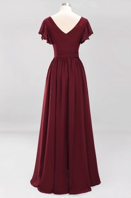 elegant A-line  V-Neck Short-Sleeves Floor-Length Bridesmaid Dresses with Bow Sash_9