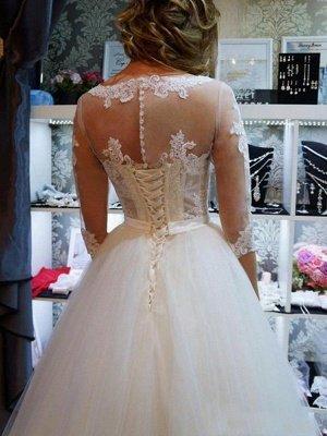 Elegant Floor-Length Scoop Puffy 1/2 Sleeves Tulle Applique Wedding Dresses_5