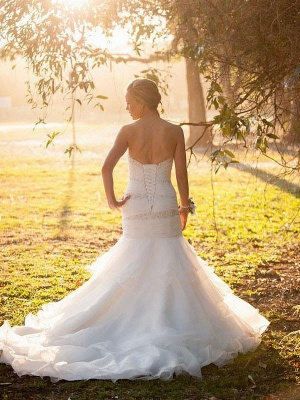 Breathtaking  Sleeveless Court Train Sweetheart Sexy Mermaid Tulle Wedding Dresses_3