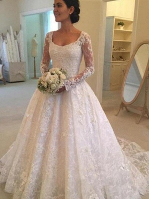 Glamorous Long Sleeves Ruffles Puffy Scoop Cathedral Train Lace Wedding Dresses_1